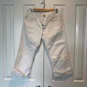 Lucky brand white distressed cropped jeans